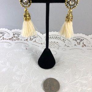 Jewelry - Cream Silk Tassels w/ Crystals and Gold Tone Studs